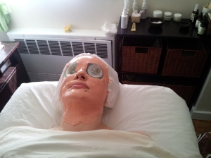 NYC - My facial at Pacific Touch NYC with a Vitamin C mask on my face