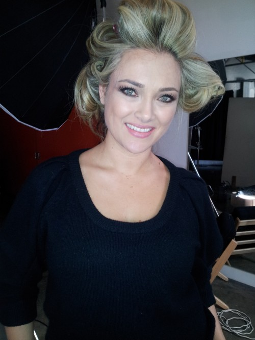Sydney - hair & make-up done with curlers setting my hair