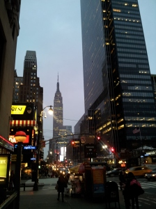New York - Walking to the subway from the midtown studio with The Empire State Building in front
