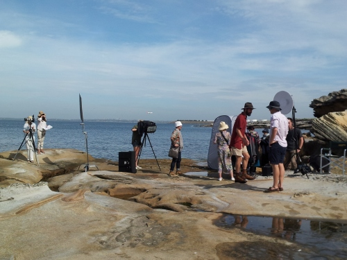 Bare Island - the crew in place for the next shot