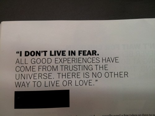 NYC - A saying I came across in a magazine whilst waiting for one of my castings