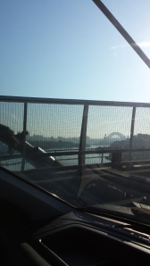 Sydney - On the Anzac Bridge, on my way to work with the Sydney Harbour Bridge in the background