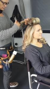 In our RV on Balmoral Beach, Annette McKenzie is creating hair magic