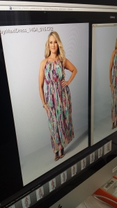 Checking the monitor --wearing a maxi dress