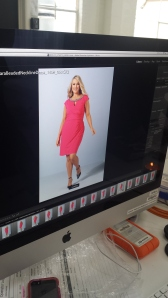 A hot pink number on the monitor